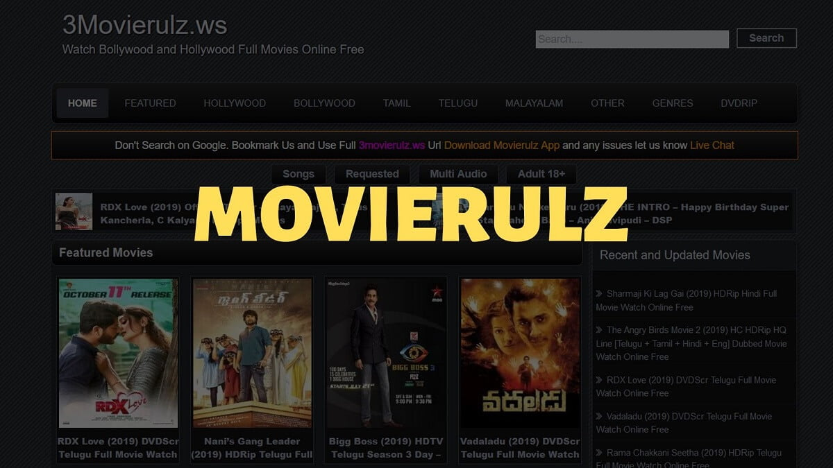 home page of movierulz