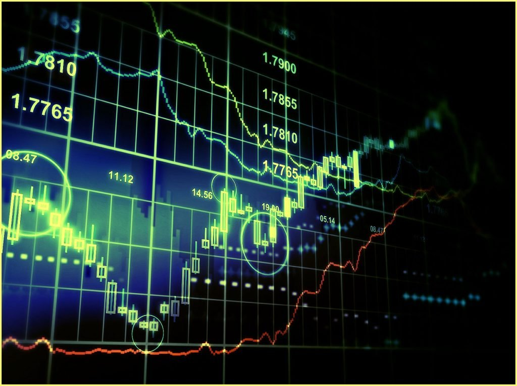 Stock market rising and falling