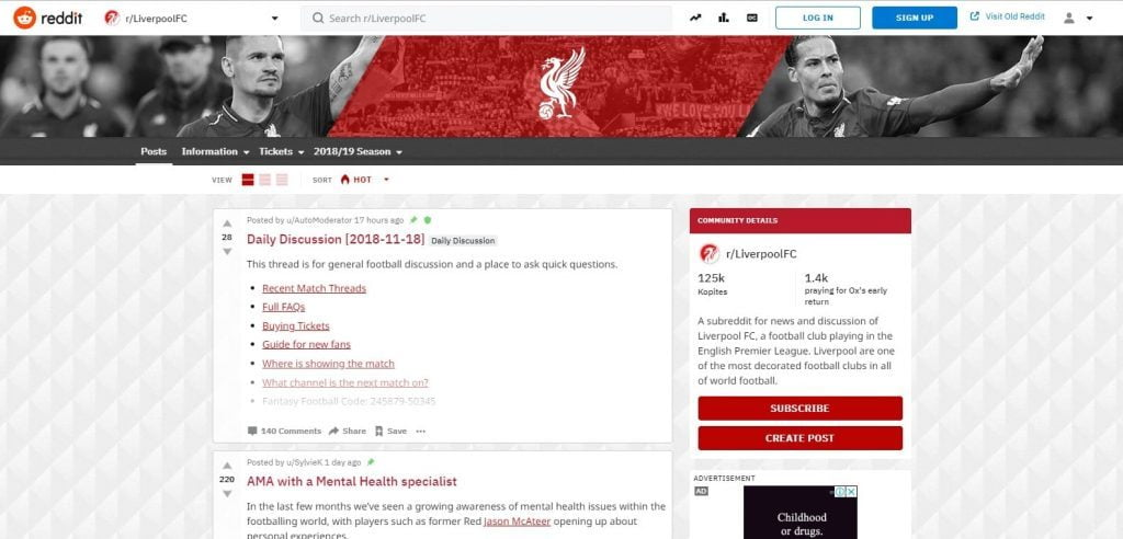 Homepage of subreddit football
