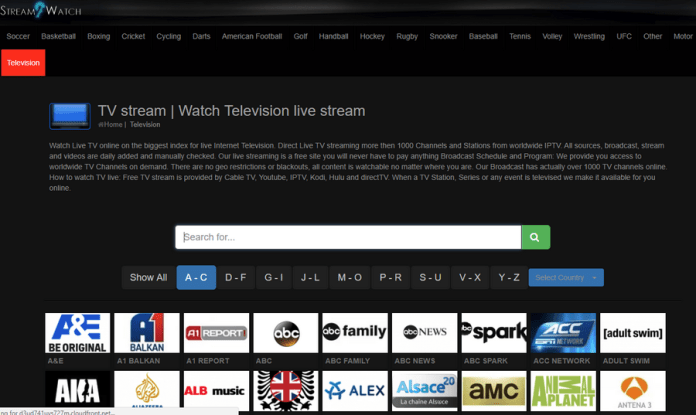 Stream2watch homepage
