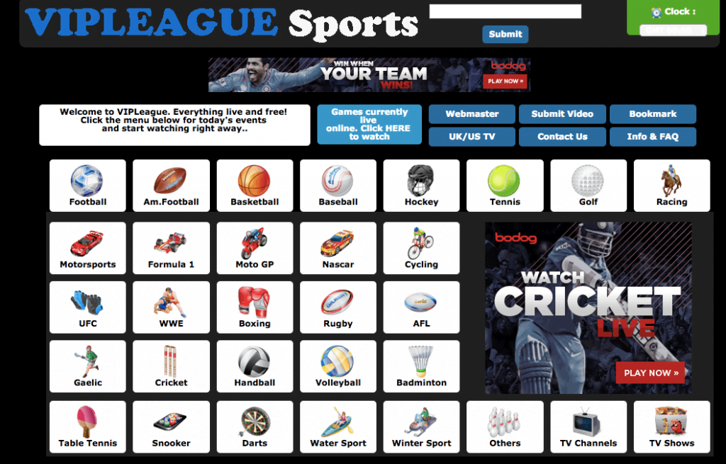 Homepage of VIPSports