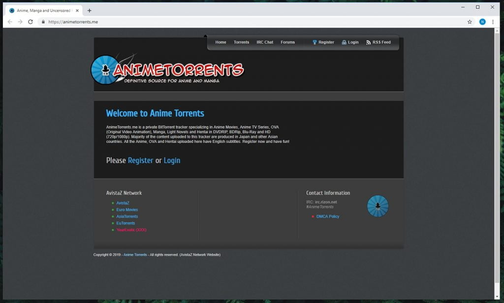 AnimeTorrents Homepage