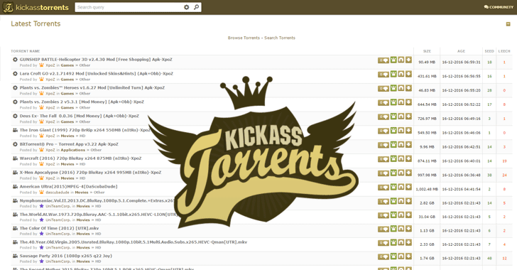 Kickass-torrents homepage
