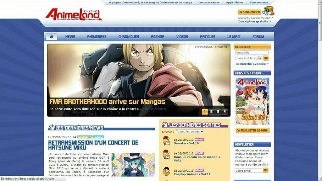 Animeland homepage