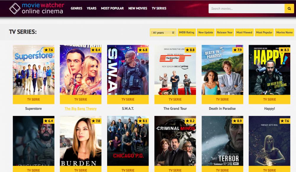 Movie Watcher homepage