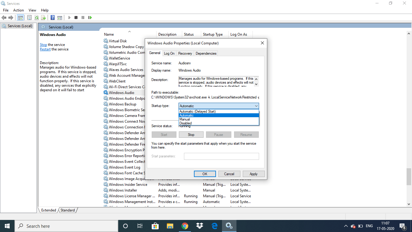 The  Audio service is not running Windows 10