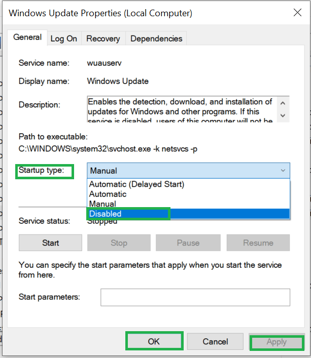 disable windows update properties