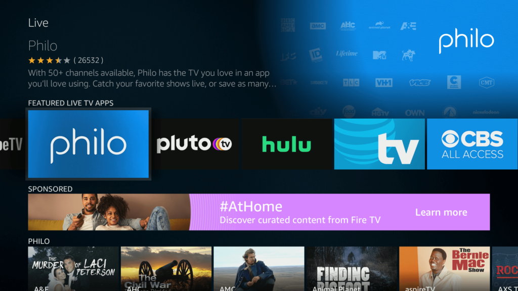 Screenshot of Philo TV connected on a Smart TV